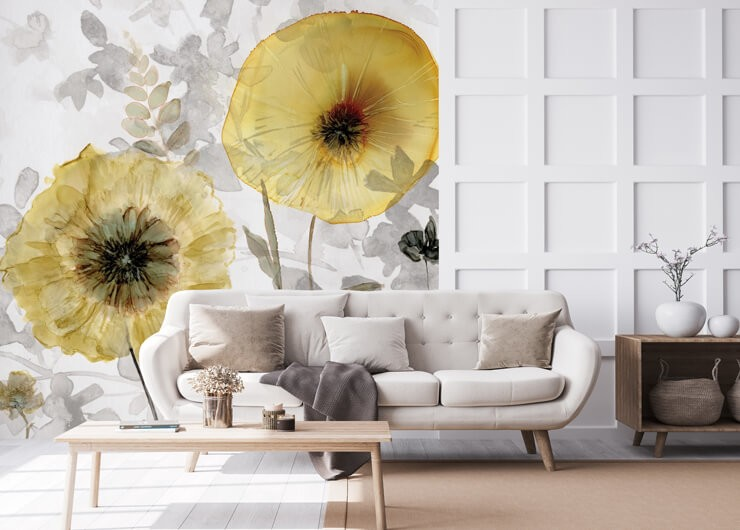gold and grey painted floral wallpaper in lounge with white panel walls and beige accessories