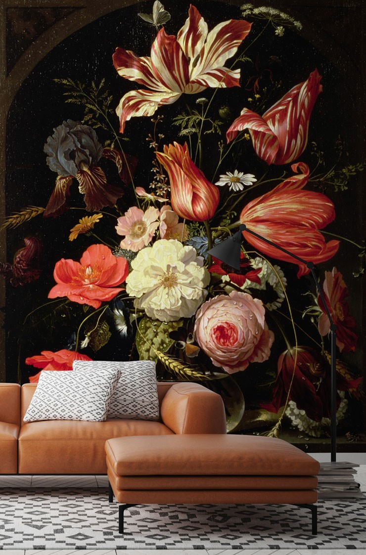 vintage painted colourful flowers in maximalist lounge with leather sofa and patterned rug
