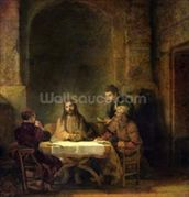 The Supper at Emmaus, 1648 (oil on panel) wallpaper mural thumbnail