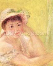 Woman in a Straw Hat, 1879 (oil on canvas) wall mural thumbnail