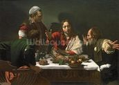 The Supper at Emmaus, 1601 (oil and tempera on canvas) mural wallpaper thumbnail