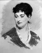 Portrait of Madame Emile Zola, 1874 (pastel on canvas) (b/w photo) mural wallpaper thumbnail