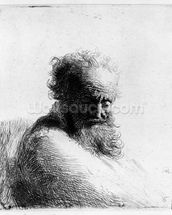 Head of an old man, 1631 (etching) wall mural thumbnail