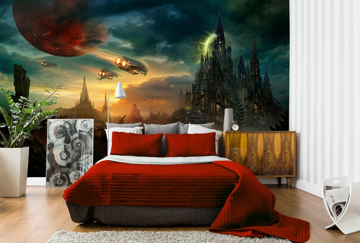 eery gaming landscape wallpaper in red coloured bedroom