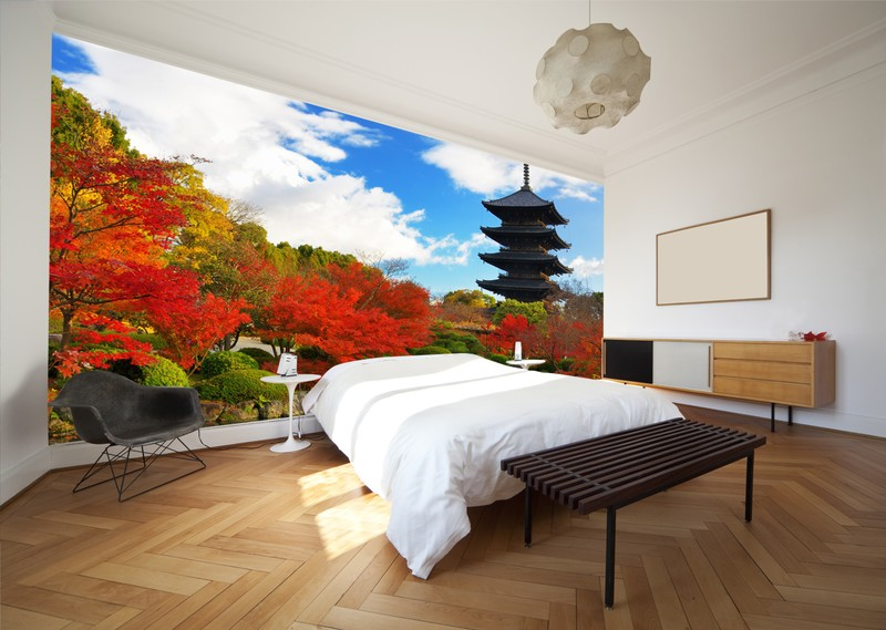 Japanese-garden-wall-mural-in-bedroom