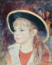 Portrait of a Young Girl in a Blue Hat, 1881 (oil on canvas) wall mural thumbnail
