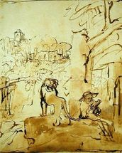 St. Jerome Reading in a Landscape, c.1653-54 (pen and brown ink and brush on paper) wallpaper mural thumbnail