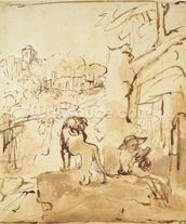 St. Jerome reading in a landscape (pen and wash on paper) mural wallpaper thumbnail