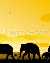 Elephants Cartoon mural wallpaper thumbnail