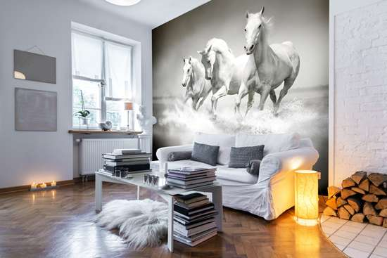 white horses wallpaper