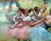 Four ballerinas on the stage (pastel) mural wallpaper thumbnail