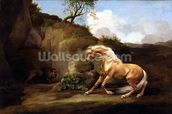 A Horse Frightened by a Lion, c.1790-5 (oil on canvas) wallpaper mural thumbnail