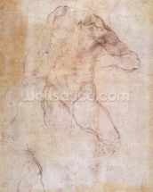 Study of a male nude (charcoal on paper) (recto) (for verso see 192511) wall mural thumbnail