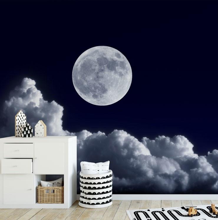 dark blue night sky, clouds and moon wall mural in modern nursery