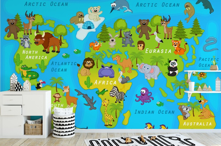 colourful childrens map wall mural in black and white child's bedroom