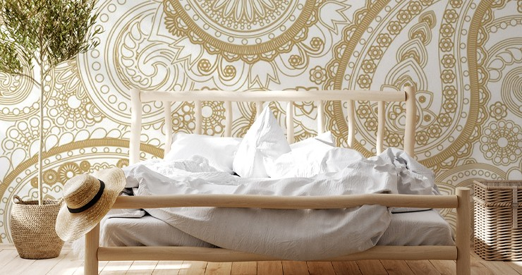 off white and golden colour paisley wallpaper in natural boho bedroom