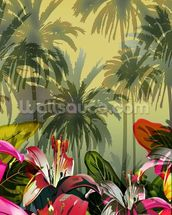 Tropical Lilly Scene mural wallpaper thumbnail