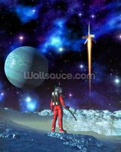 Astronaut and alien planet wall mural thumbnail