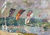 Regatta at Molesey, 1874 (oil on canvas) (see also 144130) wallpaper mural thumbnail