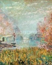 The Boat Studio on the Seine, 1875 (oil on canvas) wall mural thumbnail