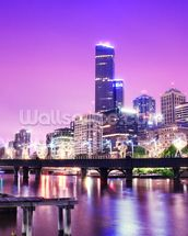 Melbourne at Night mural wallpaper thumbnail