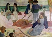 Seaweed Gatherers, 1889 (oil on canvas) wall mural thumbnail