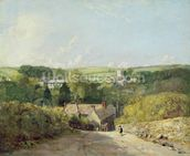 A View of Osmington Village with the Church and Vicarage, 1816 (oil on canvas) mural wallpaper thumbnail