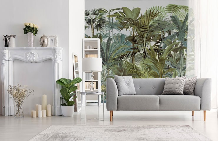 vintage style illustration of a green jungle in a trendy white and grey lounge