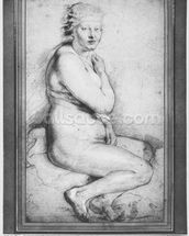 Young nude woman, seated, turned to the right (pierre noire, red chalk, white highlights & brown wash on paper) wallpaper mural thumbnail