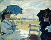 The Beach at Trouville, 1870 (oil on canvas) mural wallpaper thumbnail