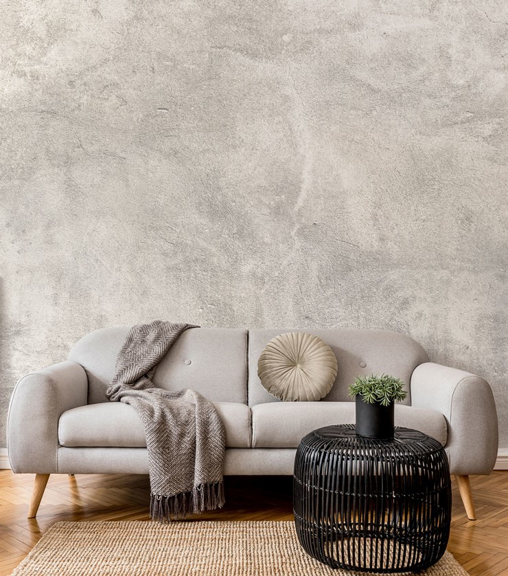 grey plaster wallpaper in stylish and classic grey living room