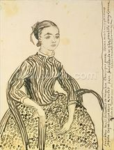 Portrait of a Young Girl, 1888 (ink on paper) wallpaper mural thumbnail