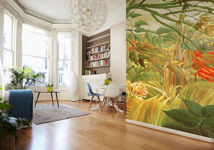 tropical themed Henri Rousseau wallpaper in living room
