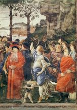 The Purification of the Leper and the Temptation of Christ, detail of figures on the right, c.1481-83 (fresco) (detail of 75786) mural wallpaper thumbnail