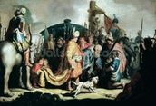David Offering the Head of Goliath to King Saul, 1627 (oil on panel) wallpaper mural thumbnail