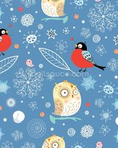 Owls and Finch wallpaper mural thumbnail
