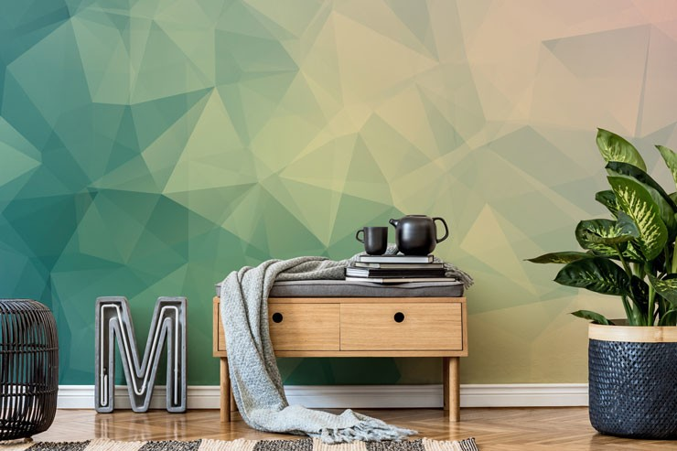 different shades of pale green geometric wallpaper in on-trend lounge