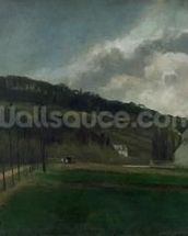 Banks of the river Marne in winter, 1866 (oil on canvas) mural wallpaper thumbnail