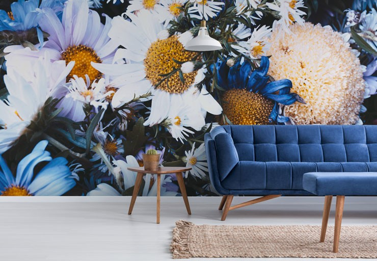 blue and white floral wallpaper in modern lounge