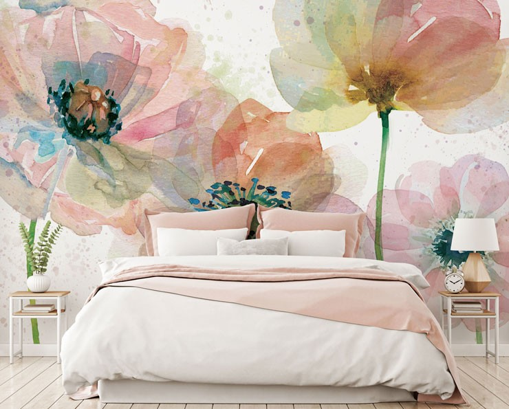 painted poppies wallpaper in beautiful bedroom