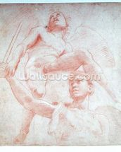Angel and a figure representing the planet Mars (red chalk on paper) wallpaper mural thumbnail