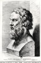 Bust of Plato (c.427-c.348 BC) engraved by Lucas Emil Vorsterman (1595-1675) (engraving) (b/w photo) mural wallpaper thumbnail