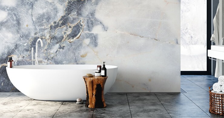 blue and white marble effect wallpaper in minimalist bathroom