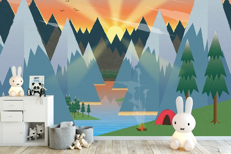 colour and abstract mountain and lake view with red tent wallpaper in child's bedroom with bunny lamp on floor