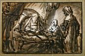 The Benediction of Isaac (pen & ink and wash) mural wallpaper thumbnail