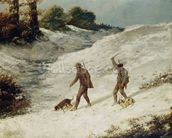 Hunters in the Snow or The Poachers (oil on canvas) wallpaper mural thumbnail