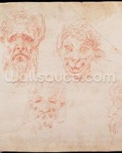 W.33 Sketches of satyrs faces (red chalk on paper) wallpaper mural thumbnail