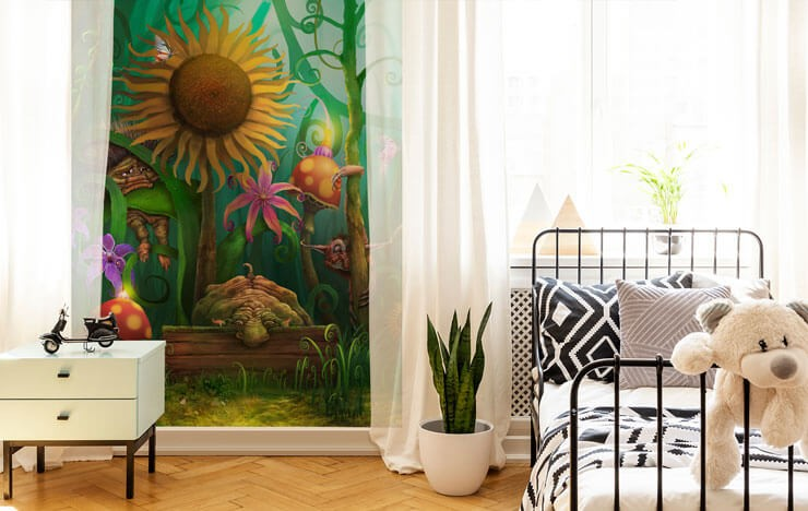fantasy elf forest wallpaper in child's black and white bedroom