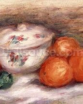 Still life with a covered dish and Oranges wall mural thumbnail