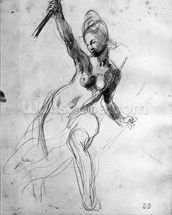 Female Nude, study for Liberty Leading the People (pencil on paper) (b/w photo) wallpaper mural thumbnail